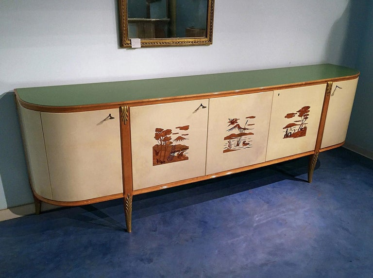 Mid-Century Modern Italian Mid-Century Parchment Sideboard by Giovanni Gariboldi, 1940s For Sale