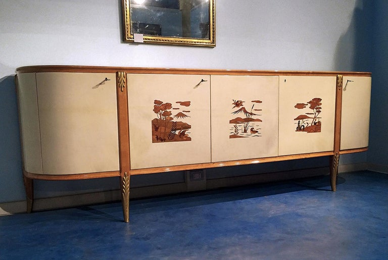 Mid-20th Century Italian Mid-Century Parchment Sideboard by Giovanni Gariboldi, 1940s For Sale