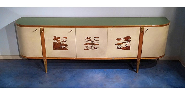 Glass Italian Mid-Century Parchment Sideboard by Giovanni Gariboldi, 1940s For Sale