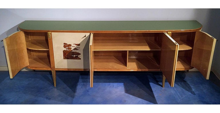 Italian Mid-Century Parchment Sideboard by Giovanni Gariboldi, 1940s For Sale 1