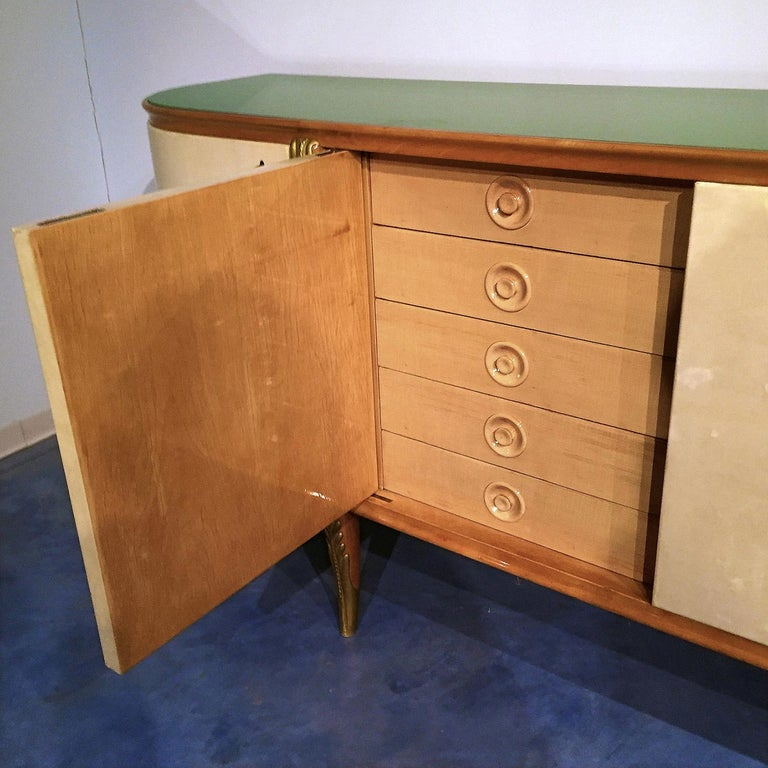 Italian Mid-Century Parchment Sideboard by Giovanni Gariboldi, 1940s For Sale 2