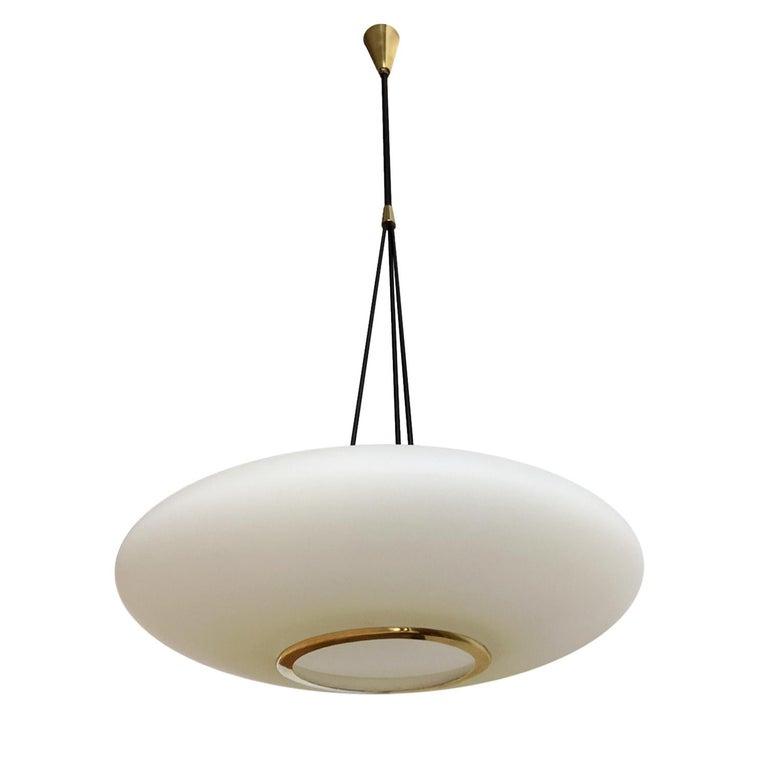 Italian Midcentury Light Pendant with Glass Opaline by Stilnovo, 1950s