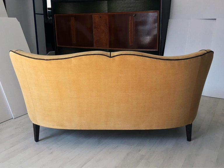 Italian Mid-Century Sofa Two-Seat in Yellow Velvet, 1950s 5