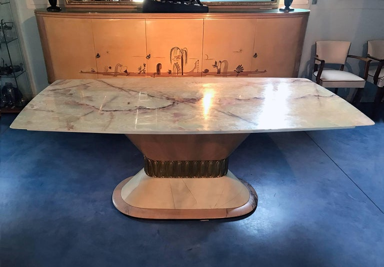 Italian Art Deco Marble Dining Table Style of Osvaldo Borsani, 1940s In Good Condition For Sale In Traversetolo, IT