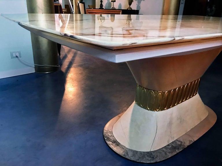 Onyx Italian Art Deco Marble Dining Table Style of Osvaldo Borsani, 1940s For Sale
