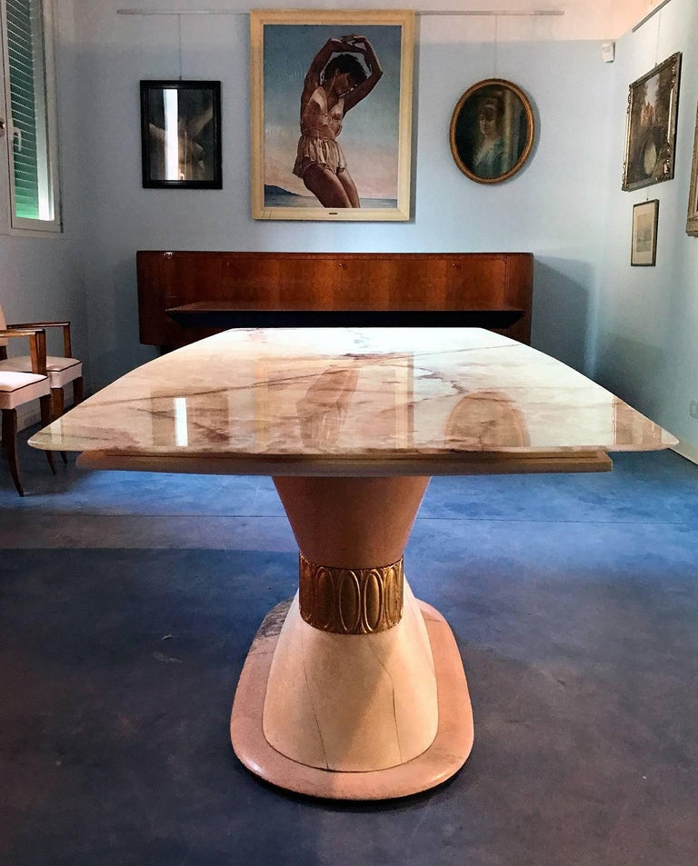 Italian Art Deco Marble Dining Table Style of Osvaldo Borsani, 1940s For Sale 1