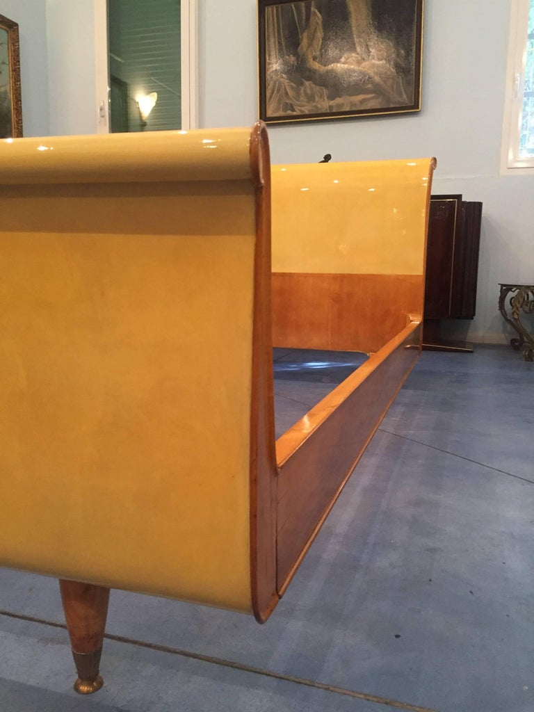 Mid century modern italian parchment bed frame 1950s for for Mid century modern italian furniture