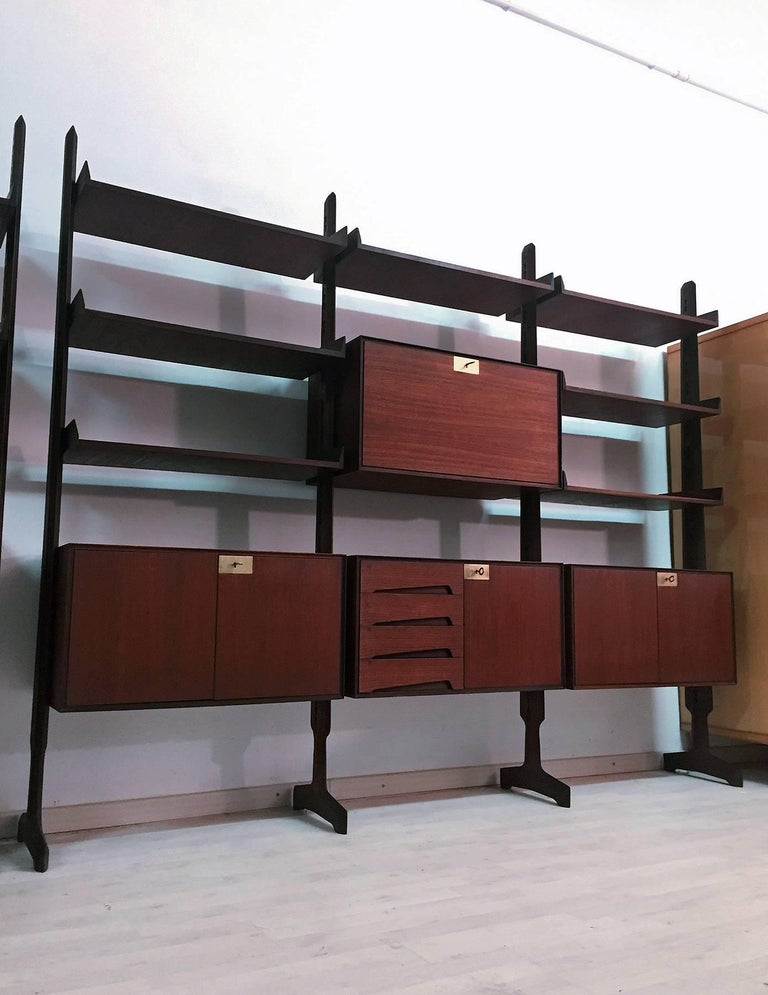 Italian freestanding Teak Wood Bookcase by Palutari for Dassi, 1950s 3