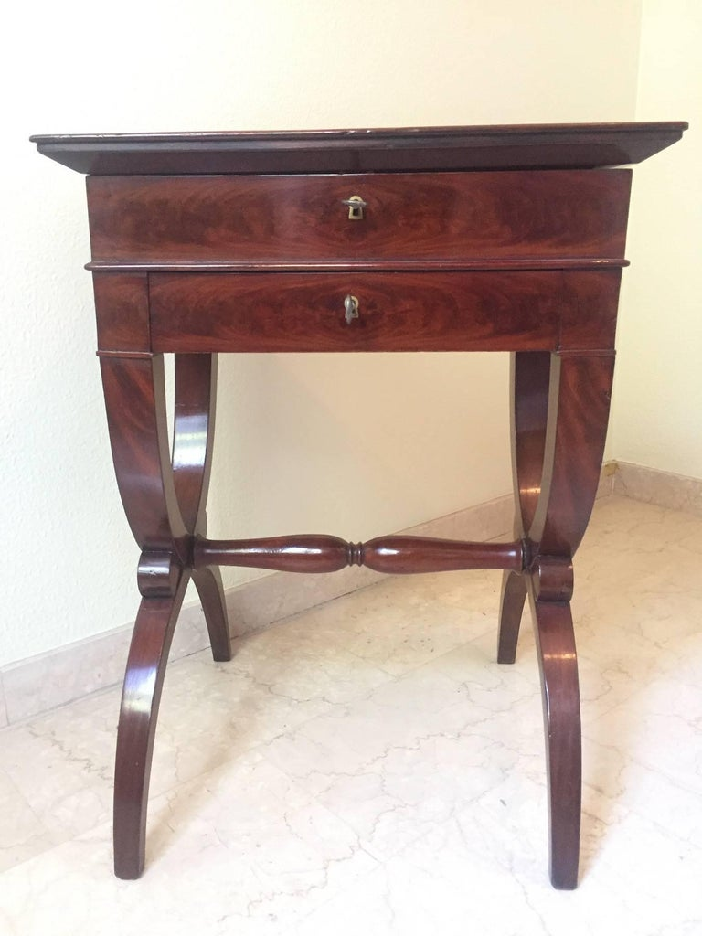 Restauration French Mahogany Work Table, 1830 For Sale