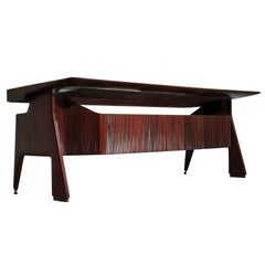 Mid-Century Modern Italian Walnut Executive Desk by Vittorio Dassi, 1950s