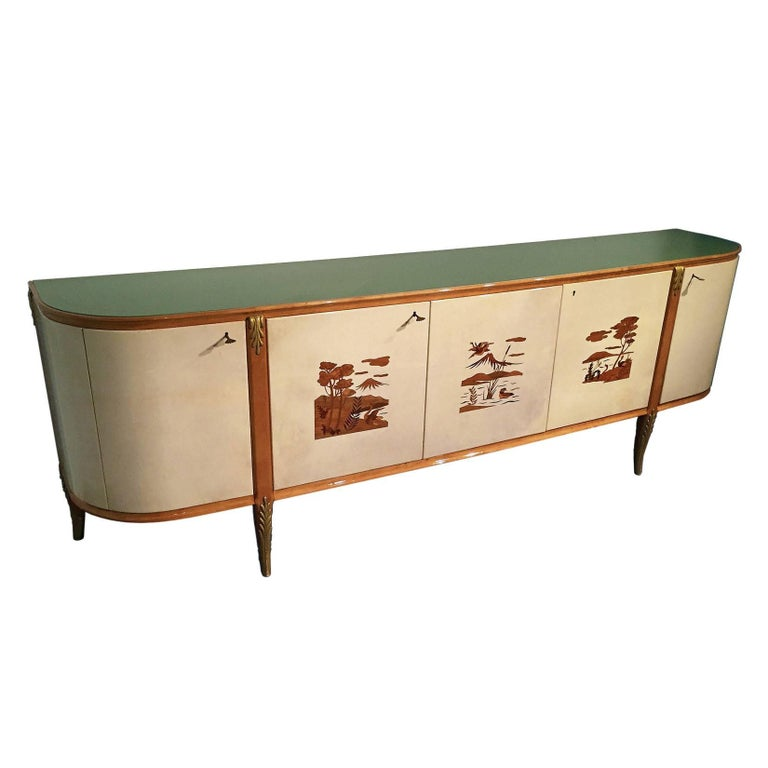 Mid-Century Modern Italian Parchment Sideboard by Giovanni Gariboldi, 1940s