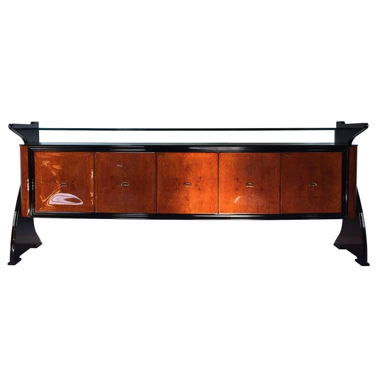 Midcentury Wooden Amboyna Rosewood Sideboard Guglielmo Ulrich's Style, 1950s