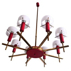 Mid-Century Italian Chandelier eight-light by Angelo Brotto for Esperia, 1950s