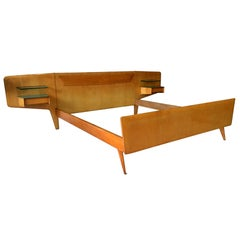 Mid-Century Modern Italian Bed and Nightstands by Vittorio & Plinio Dassi, 1950s