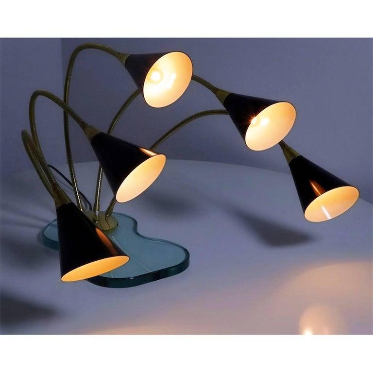 Beveled Italian Mid-Century Stilnovo Style Table Lamp Five Light on Glass base, 1960s For Sale