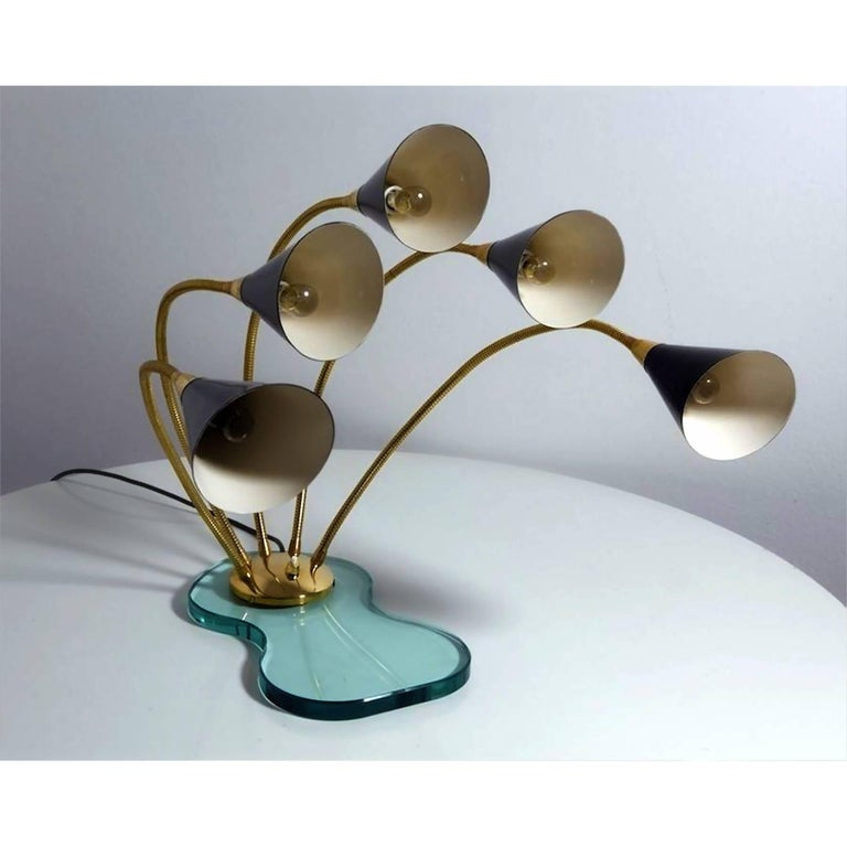Italian Mid-Century Stilnovo Style Table Lamp Five Light on Glass base, 1960s In Good Condition For Sale In Traversetolo, IT