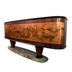 Italian Art Déco Sideboard by Vittorio Dassi with big Inlaid scene, 1940s