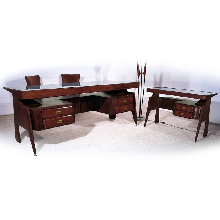 Mid Century Italian Walnut Small Desk By Vittorio Dassi