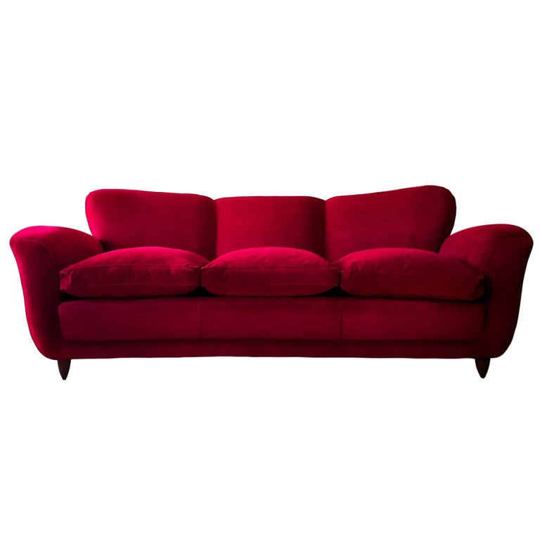 Italian large Sofa in red Velvet attributable to Guglielmo Ulrich, 1950s