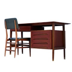 Italian Teak Wood Writing Desk and Chair by Vittorio Dassi with Palutari, 1950s