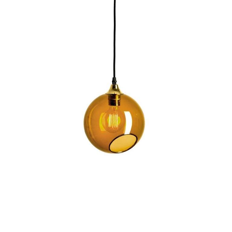 Ballroom Amber Pendant with Brass Edge Gold Socket Ceiling Lamp