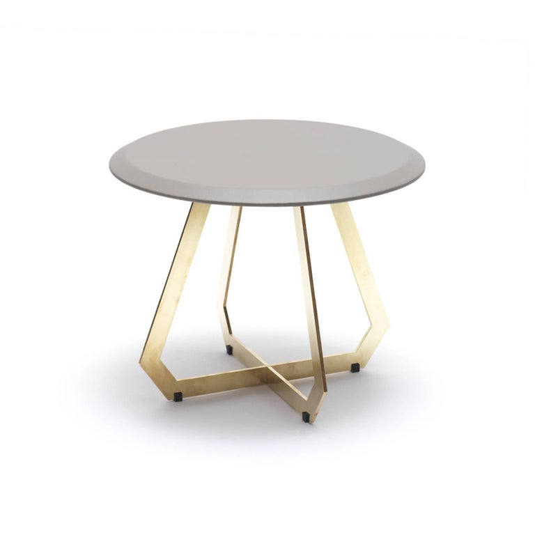 Modern Fetish Table in Leather and Brass, Side Table, Small For Sale