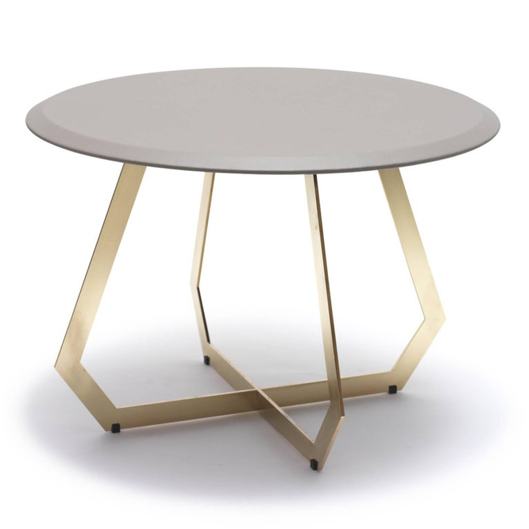 Modern Fetish Brass and Leather, Side Table, Large For Sale