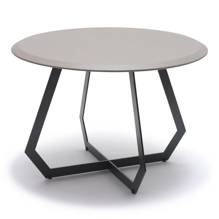 Modern Fetish Table Black / Large, Side Table, Leather and Metal For Sale