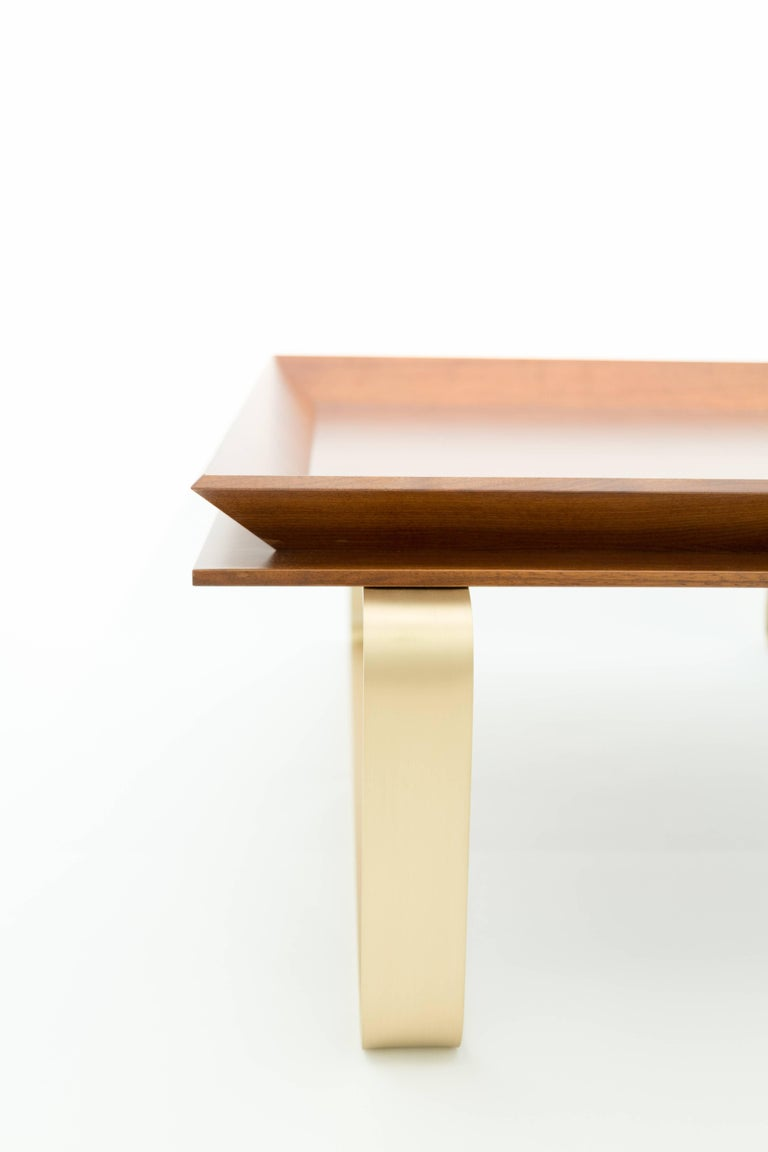 Le Tray Walnut Wood And Brass Curved Leg Coffee Or Cocktail Table For Sale At 1stdibs