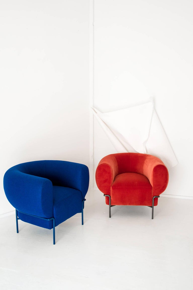 Contemporary Madda Lounge Chair in Blue Wool 3