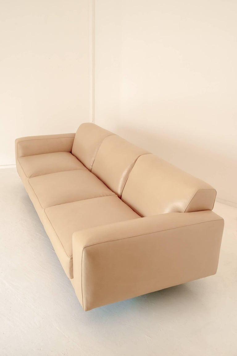 Modern Contemporary Flora Sofa in Cane Leather with White Oak Base For Sale