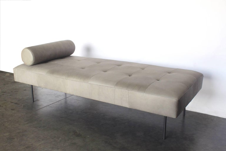 Modern Contemporary Goddard Bench in Gray with Steel Legs For Sale