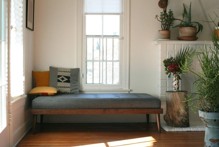 American Contemporary Fortuna Bench in Gray Wool with Solid Walnut Base For Sale