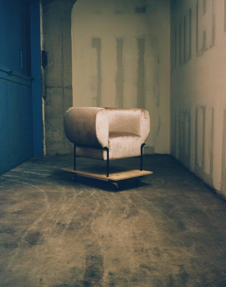 American Contemporary Madda Lounge Chair in Pixel Phantom Velvet