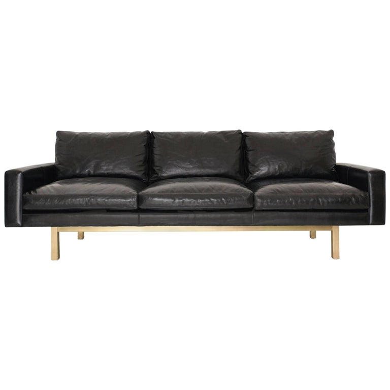 Contemporary Standard Sofa in Black Leather with Brass Base