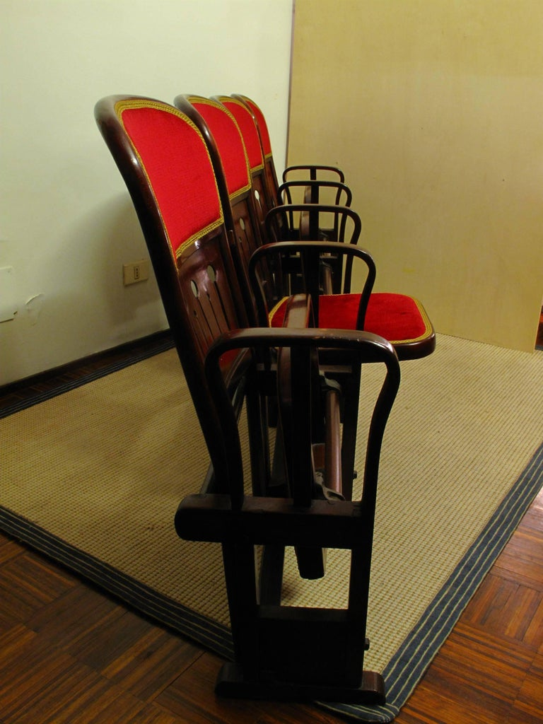 Austrian Row of Four Bentwood Viennese Theatre Chairs by Thonet, circa 1907 For Sale