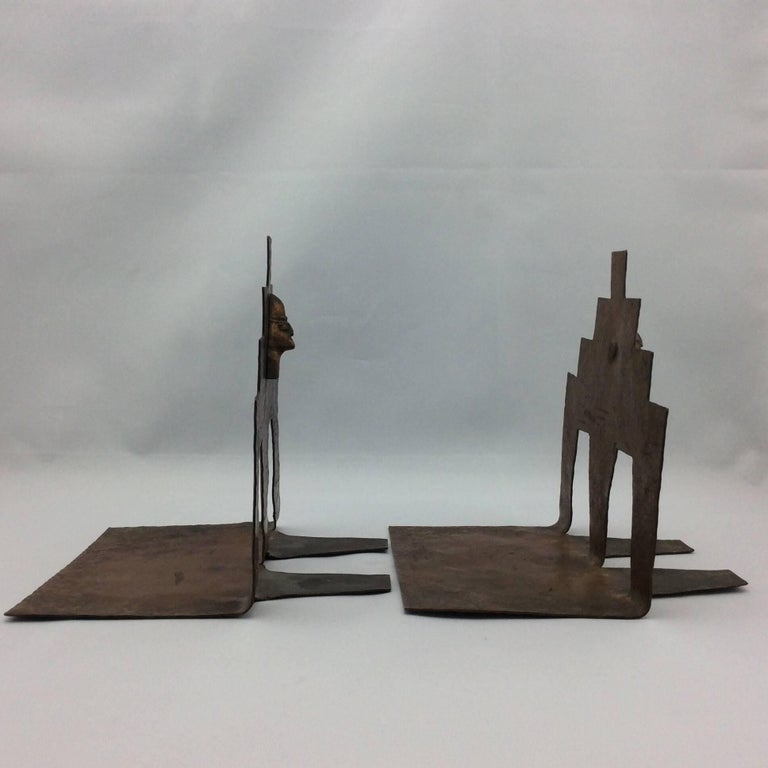 Unique Large Midcentury Handcrafted Copper Bookends Boho