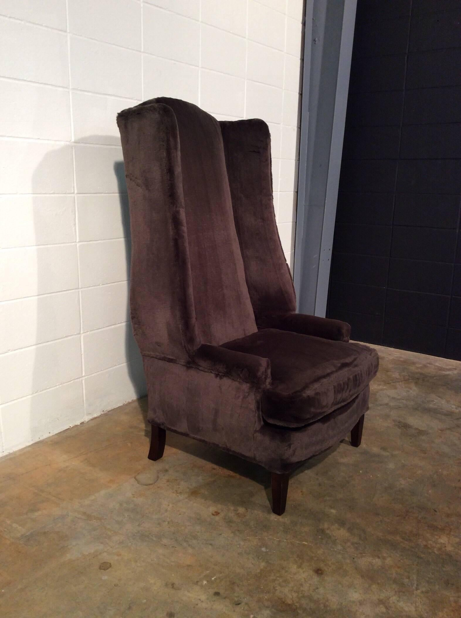American Monumental And Unique Extra Tall Wingback Chair In New Faux Fur,  Vintage For Sale