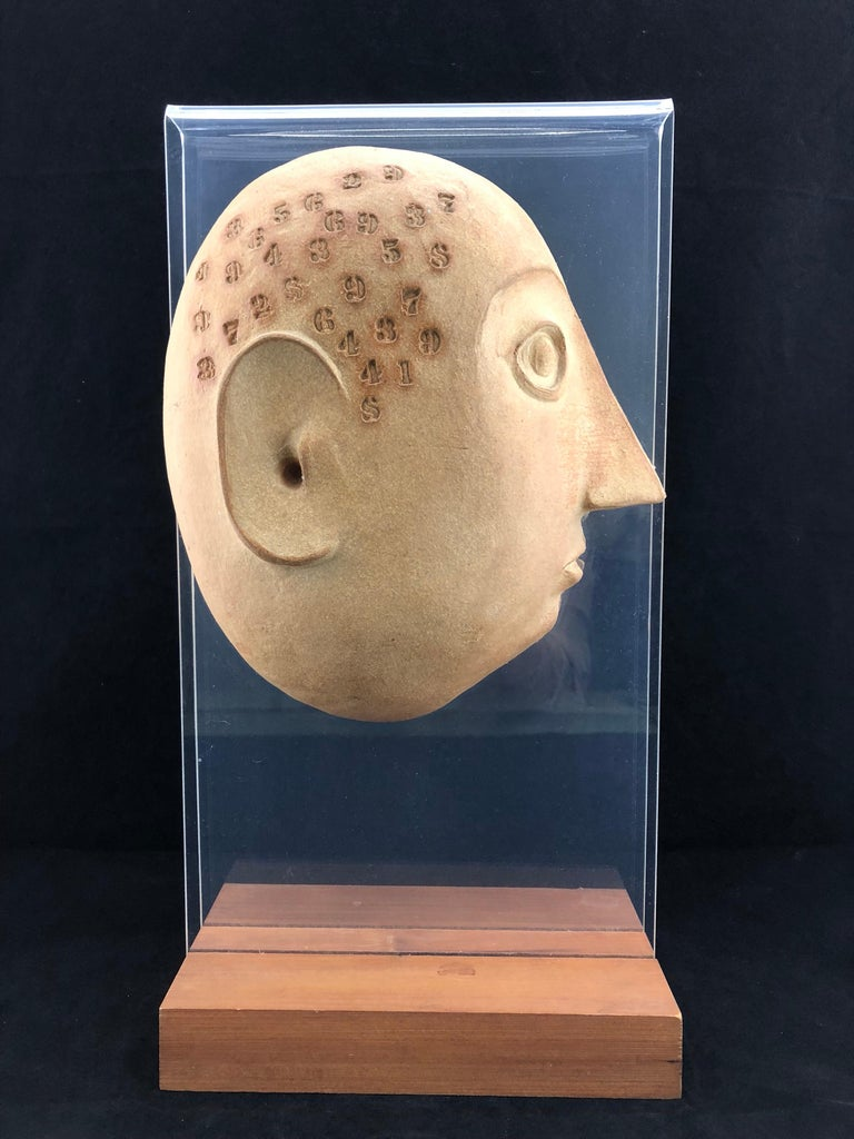 Mid-Century Modern Midcentury Acrylic and Ceramic Head Sculpture by David Gil for Bennington For Sale