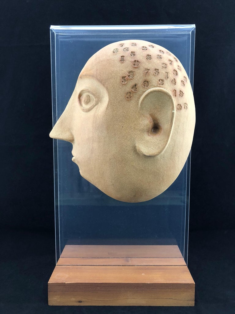Midcentury Acrylic and Ceramic Head Sculpture by David Gil for Bennington For Sale 1