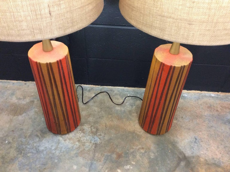 Pair Of Vintage Mid Century Modern Ceramic Table Lamps At