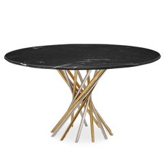 Electrum Black Marble and Mixed Metal Dining Table