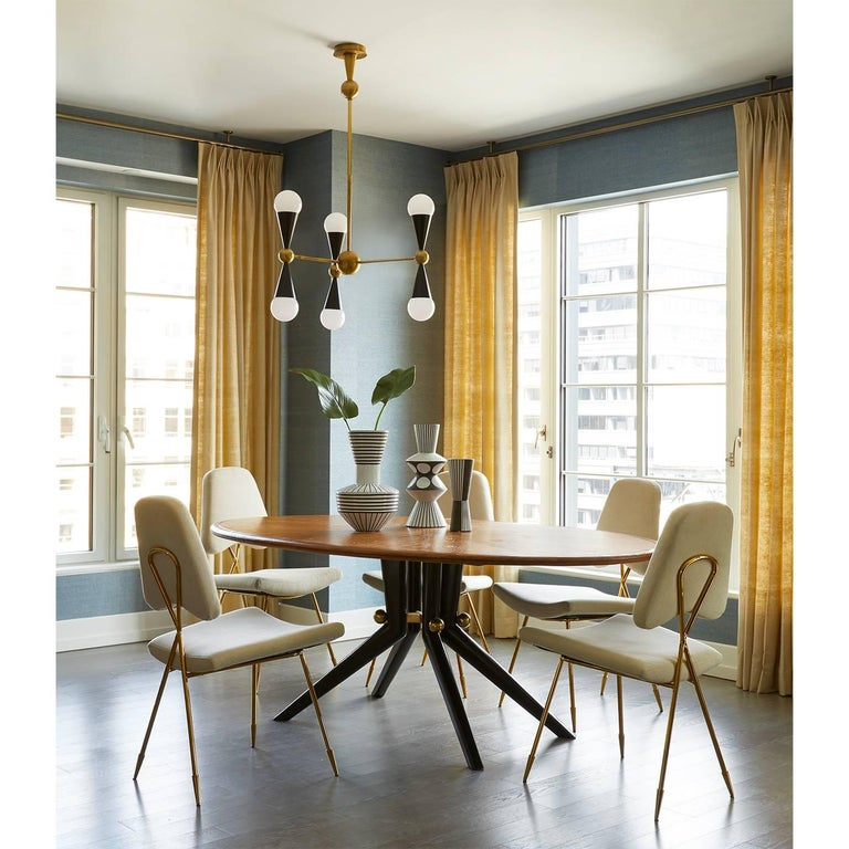 American Caracas Ivory and Brass Six-Light Chandelier For Sale