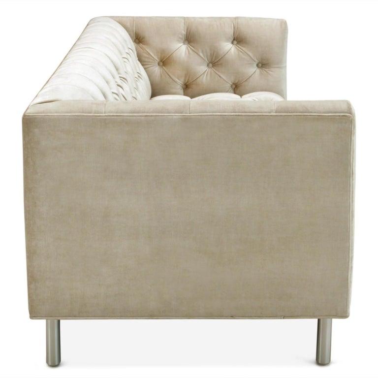 Chesterfield Baxter Sofa in Pearl Velvet For Sale