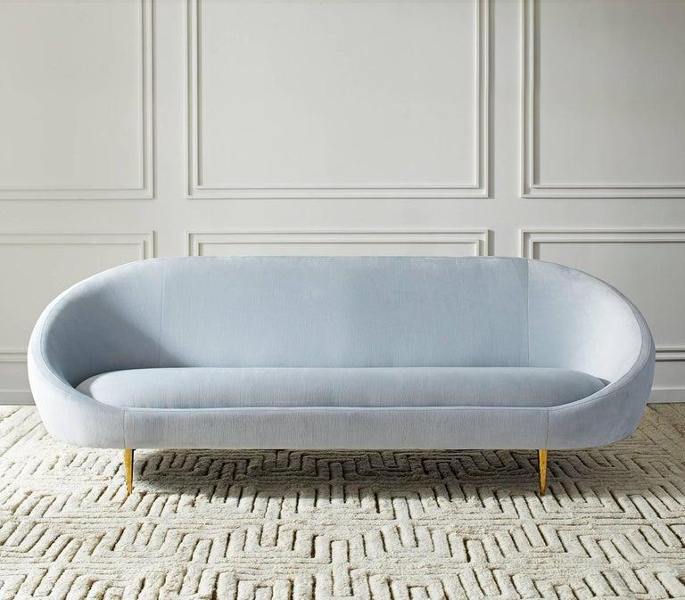 Polished Ether Velvet Sofa For Sale