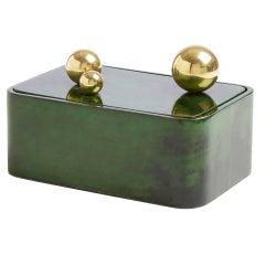 Trocadero Lacquered Goatskin Box in Jade