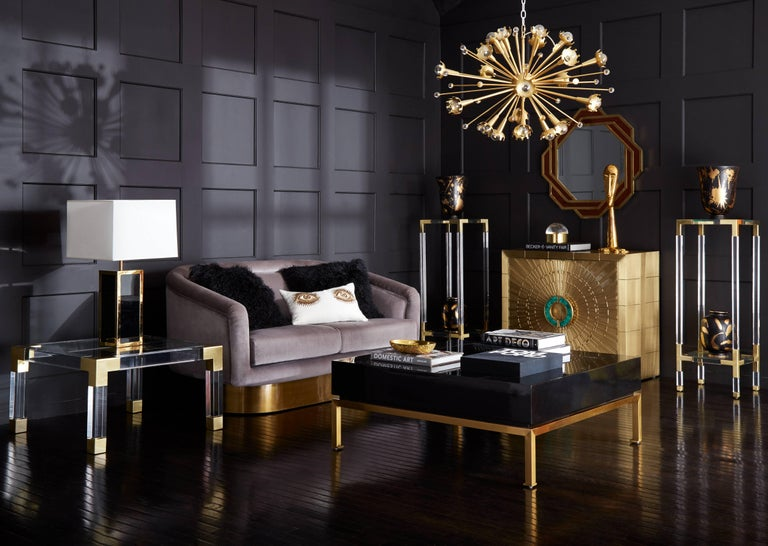 Bacharach Ash Velvet Settee In New Condition For Sale In New York, NY