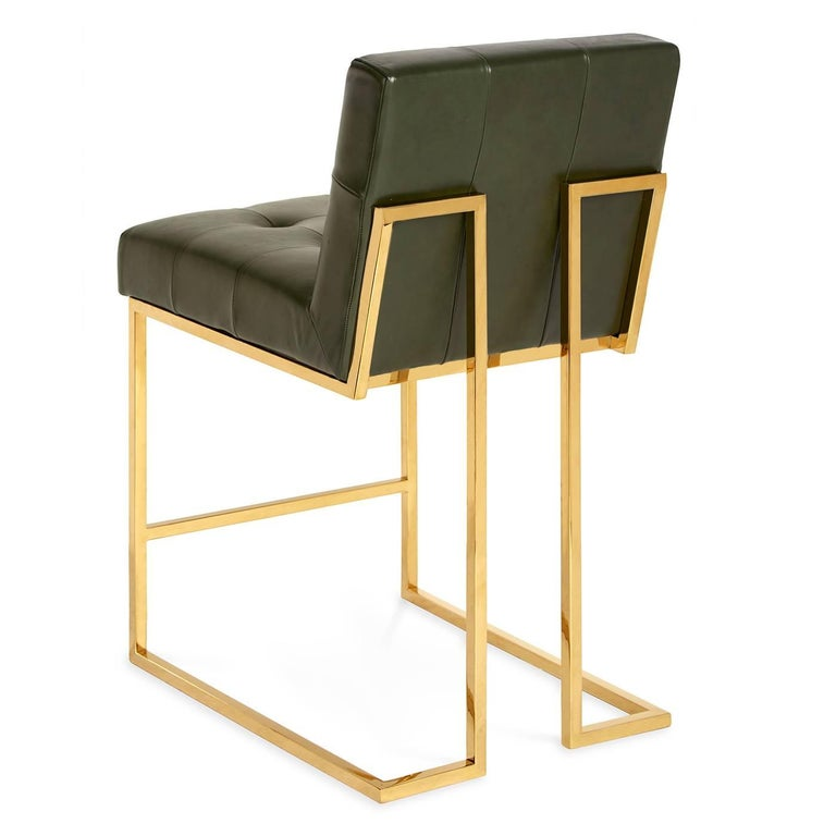 Goldfinger Leather And Brass Counter Stool For Sale At 1stdibs