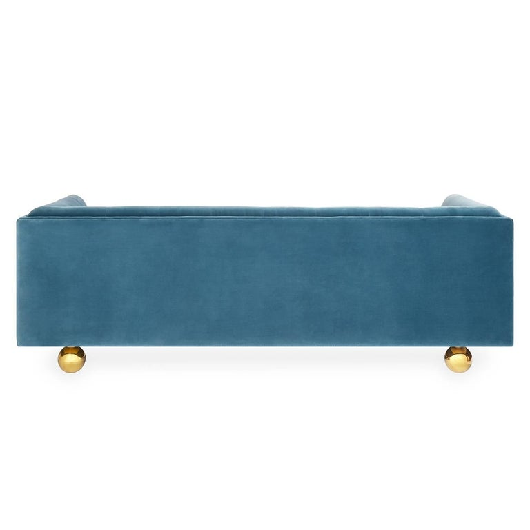 Claridge Modern Chesterfield Sofa In French Blue Velvet At 1stdibs