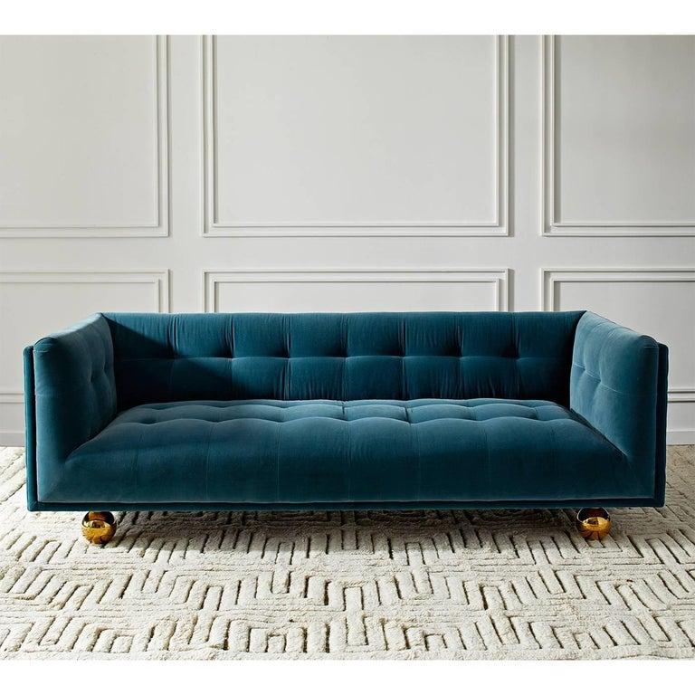Claridge Modern Chesterfield Sofa in French Blue Velvet